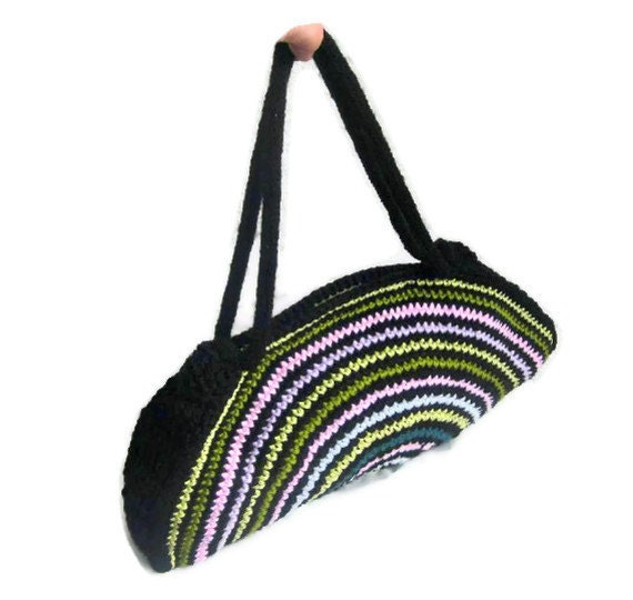 Crochet Rainbow Bag : OOAK, Crochet Bag, Clutch, Colorful, Rainbow, Pink, Blue, Green ...