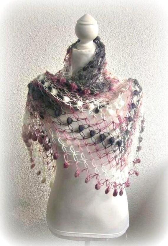 Crochet Shawl, Scarf,Triangle Shawl, Neckwarmer , rainbow, Colorful, Gray, Purple, Pink, White, Taupe