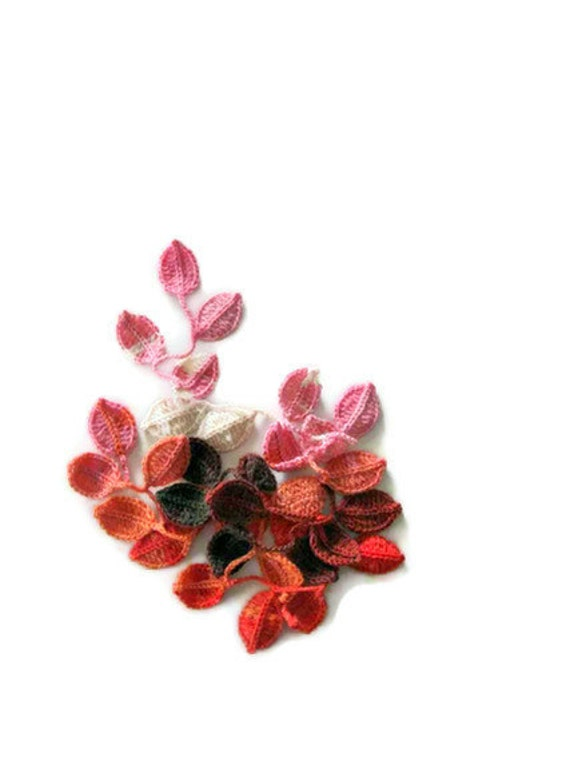 Crochet lariat scarf with Leaves Colorful, Orange, Pink, Brown, Ivory, Feminine, Trendy, Spring, Summer, Harvest,