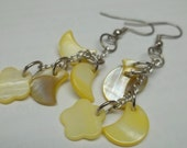 Yellow shell charms Earrings, yellow shell dangle earrings,Fly freely