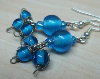 blue glass beads earrings,blue beaded earrings, blue glass earrings, blue earrings,glass beaded earrings