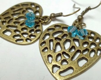 Antiqued brass heart earrings turquoise swaroski crystal