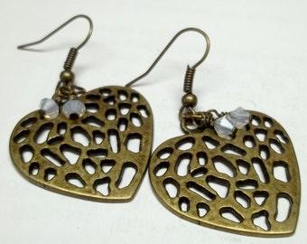 white swaroski crystal Antiqued brass heart earrings