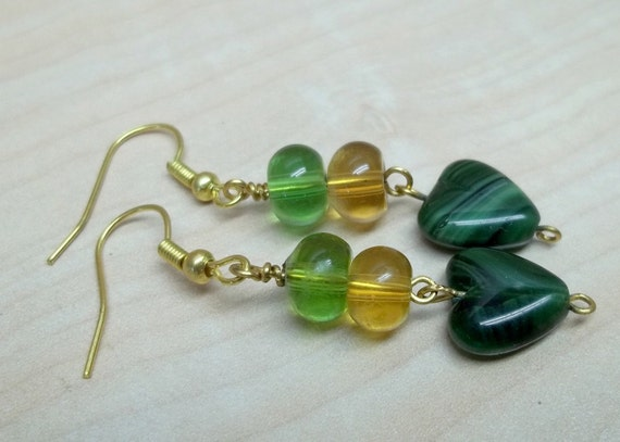 Green glass heart  Earrings  Heart on a string treasury item
