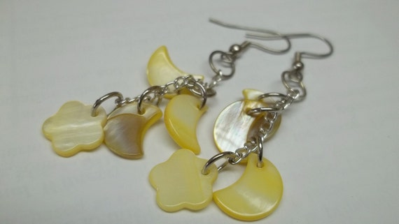 Yellow shell charms Earrings, yellow shell dangle earrings,Fly freely