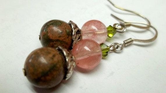 Pink and green jasper pink glass bead earrings