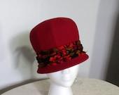 1960s Vintage Hat / Felt / Mod / Barnee / Bobby Hat / Helmet / Bowler / Breakfast at Tiffanys / Audrey Hepburn / Orange Red