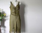 Betsey Johnson Dress Olive Green Sheer Fabric Size Medium