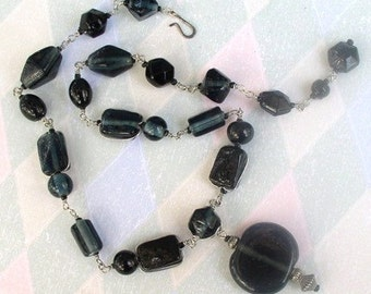 Necklace Beaded Handmade Midnight Blue Circle Glass Pendant
