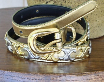 Vintage Belt Gold Studded with X's Gold and Silver Belt Cinch Belt Skinny Belt Size Small