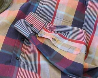 Vintage Men's Shirt Izod ON SALE Plaid Shirt  Men's Preppy Button Down Collar Cotton 1980s Long Sleeve  Size L