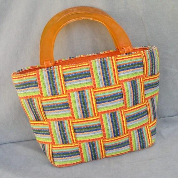 Handbag M  G Bertini Multicolored Woven Made in Itaty