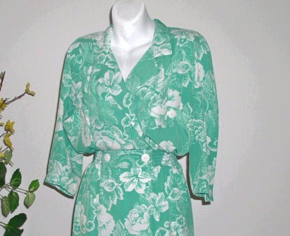 Seafoam Green1980s Dress Floral Small / Secretary