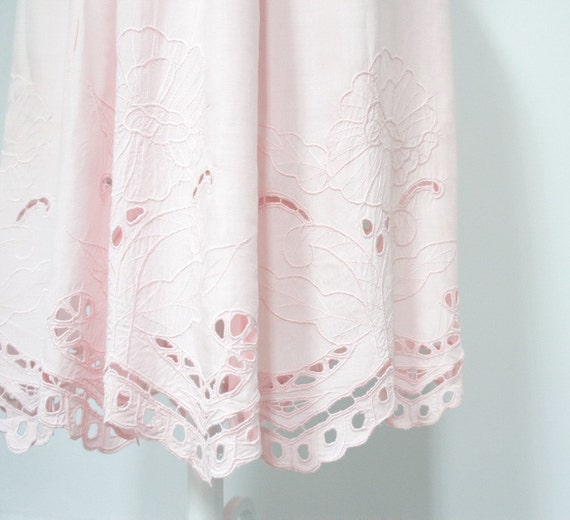 1980s Summer Skirt / Pink Pastel / Open Lace / Battenburg / Gathered / Gypsy / Boho / Sized Petite Large