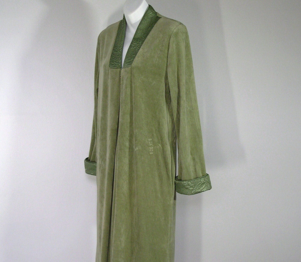 Robe Dressing Gown Diamond Tea Moss Green Velour