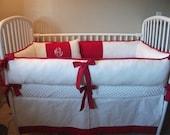 Custom Red and White Baby Bedding Crib set