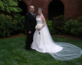 Cathedral 108 single layer Wedding Bride Veil WHite, Ivory, diamond white