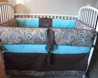 Custom Blue Brown Boy Paisley baby Bumper Pad bedding  and skirt Crib Set