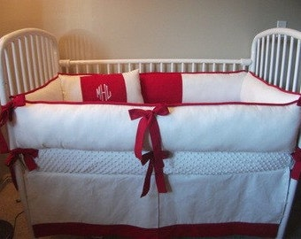 Custom Red and White Baby Bedding Crib set