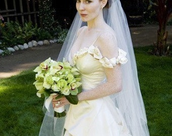 Chapel Length  Two tier affordable Wedding Bride Veil white, ivory or diamond