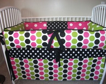 Crib Sets baby bedding Polka  Dot Girls Pink Black Bumper Pad  DEPOSIT Down payment only