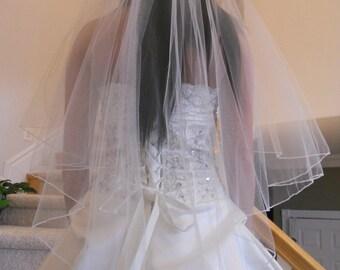 Fingertip Cascading Wedding Bridal Veil white, diamond, ivory