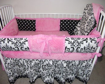 Hot Pink and Black Girls Damask Baby bedding Bumper Pad Crib Set