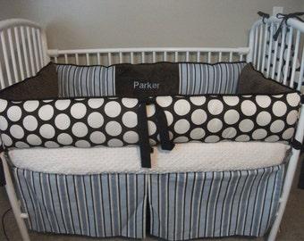 Mod Dot Baby Boy Blue Brown Bumper Bedding Crib set DEPOSIT ONLY