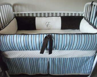 Custom Baby Boy Blue Brown Stripe Bedding Bumper Pad Crib Set