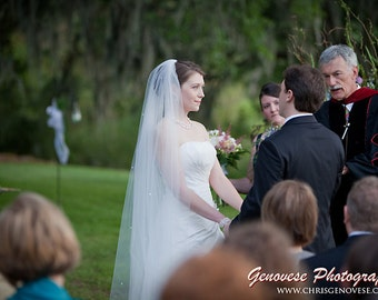 108 Cathedral single layer Wedding Bride Veil WHite, Ivory, diamond white