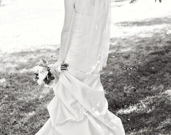 Cascading fingertip Length Bride Wedding Veil 39 inches white, ivory or diamond