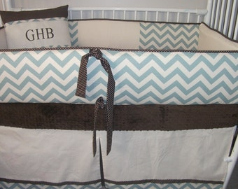 CHEVRON BABY BOY Bumper Pad Baby Crib Set