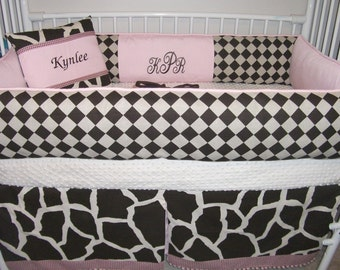 Girls pink Brown giraffe Bedding  Bumper Pad Baby Crib Set