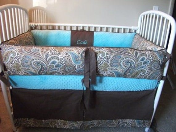 Items Similar To Custom Blue Brown Boy Paisley Baby Bumper Pad Bedding And Skirt Crib Set On Etsy