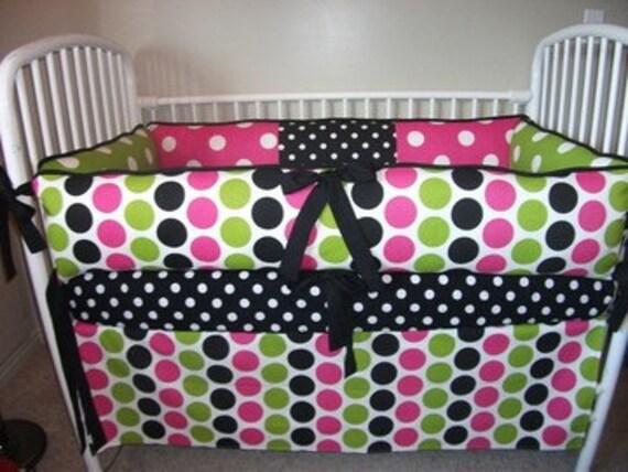 Polka  Dot Girls Pink Black Bumper Pad Crib Set DEPOSIT