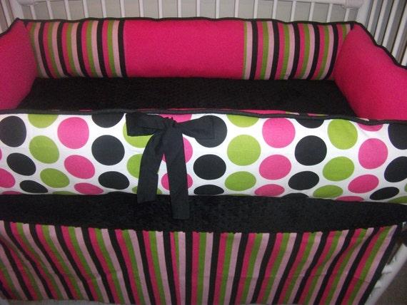 Polka  Dot Stripe Baby Girls Hot Pink Black Bumper Pad Crib Set