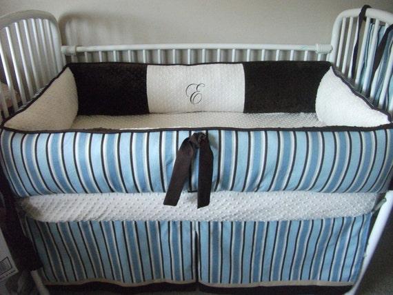 Custom Baby Boy Blue Brown Stripe Bedding Bumper Pad Crib Set