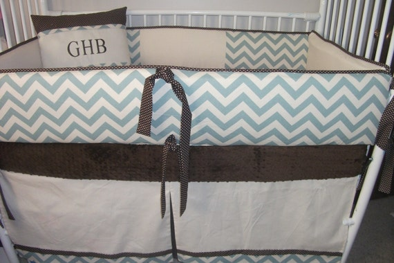Brown Blue Chevron Boy Baby Bedding Bumper And Skirt Baby