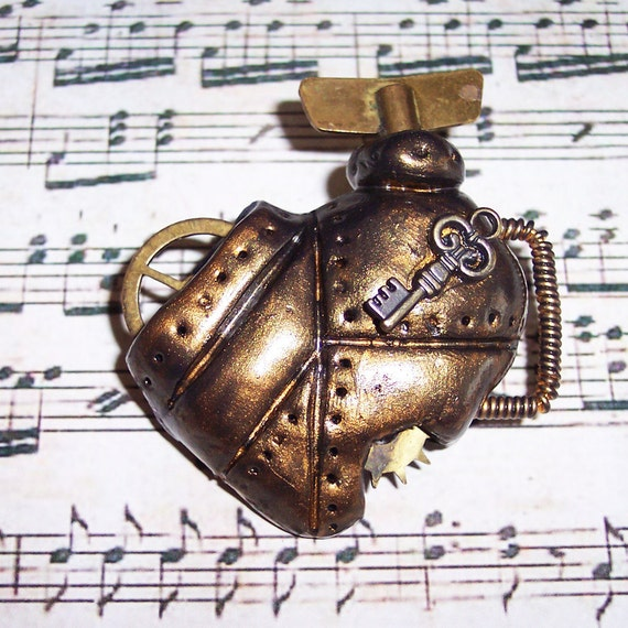 If I Only Had A Heart brass brooch - OOAK Unique Steampunk Gothic Clockwork Neo Victorian Victoriana Jewellery