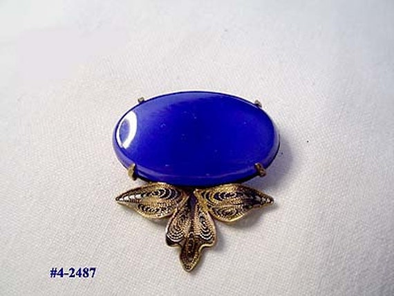 Vintage Sterling and Blue Onyx Clip (4-2487) FREE SHIP