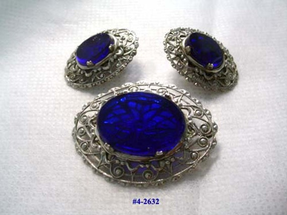 Fabulous Vintage Cobalt And Filigree Brooch And Earrings (4-2640) FREE SHIP