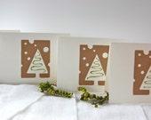 Handmade Christmas Card set of 4 greeting card set Christmas tree with snow