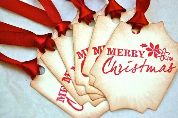 Merry Christmas handmade christmas gift tags set of 6, favor tags, festive hang tags