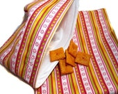 Reusable Sandwich and Snack Bag Set-Pink Daisey Stripes