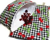 Cherries on Black Gingham Sandwich and Snack Bag Set, Reusable
