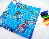 Blue Batik Large Wet Storage Bag, Reusable