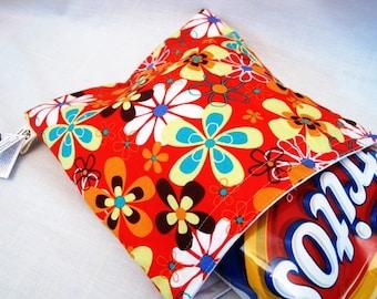 Orange Floral Large Wet Storage Bag, Reusable