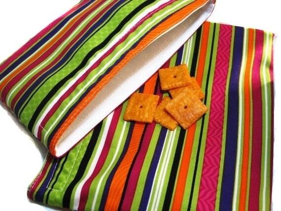 Bold Stripes Sandwich and Snack Bag Set, Reusable
