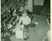 Christmas Morning 1956 Little Girl Playing With Toy Stove Under Christmas Tree Showing Train Set Under Le Anne At Grandma's Photo Snapshot