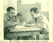 Vintage 1940s WW2 Soldiers at Desk Photo Pvt Klein 1st Lt Greenberg Uniforms Strategy Planning 40s World War 2